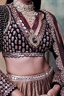 Black & Copper Embroidered Lehenga Set by Vvani by Vani Vats