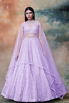 Lilac Embroidered Lehenga Set by Vvani by Vani Vats