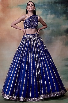 Midnight Blue Embroidered Lehenga Skirt & Blouse by Vvani by Vani Vats