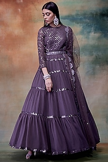 Charcoal Grey Embroidered Anarkali With Dupatta by Vvani by Vani Vats