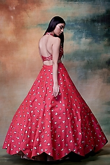 Coral Embroidered Lehenga Skirt With Blouse by Vvani by Vani Vats
