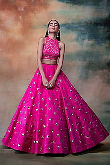 Fuchsia Embroidered Lehenga Skirt With Blouse by Vvani by Vani Vats