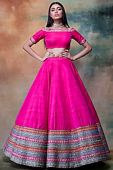 Fuchsia Embroidered Lehenga Skirt With Off Shoulder Blouse by Vvani by Vani Vats
