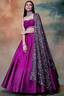 Purple Embroidered Lehenga Set by Vvani by Vani Vats