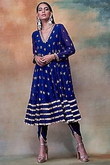 Midnight Blue Embroidered Kurta With Dhoti Pants by Vvani by Vani Vats