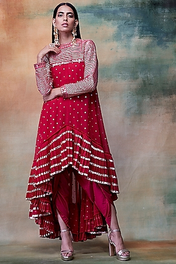 Crimson Red Embroidered Kurta With Dhoti Pants by Vvani by Vani Vats