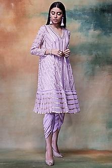 Lilac Embroidered Kurta With Dhoti Pants by Vvani by Vani Vats