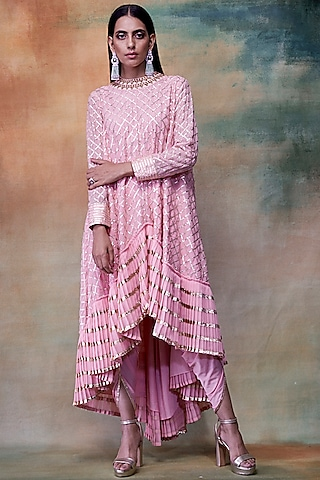 Peach Embroidered Kurta With Dhoti Pants by Vvani by Vani Vats