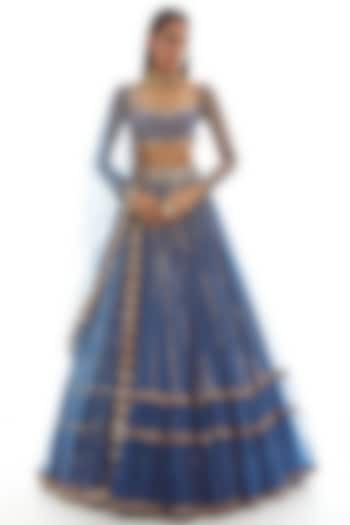 Dull Blue Embroidered Lehenga Set by Vvani by Vani Vats