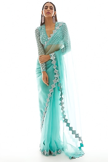 Biscay Embroidered Saree Set by Vvani by Vani Vats