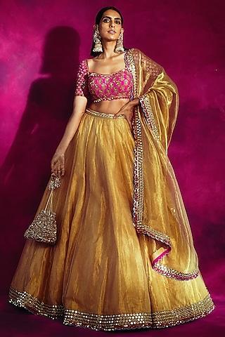 Gold & Fuchsia Embroidered Lehenga Set by Vvani By Vani Vats