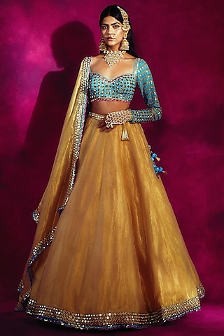 Gold & Firozi Blue Embroidered Lehenga Set by Vvani By Vani Vats