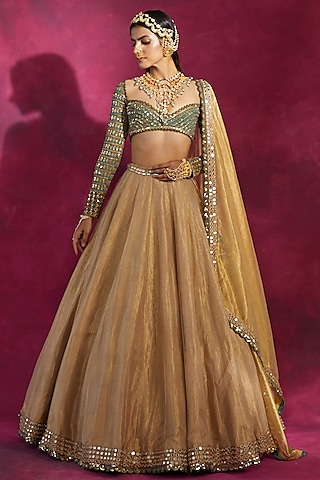 Gold & Mud Green Embroidered Lehenga Set by Vvani By Vani Vats