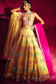 Sea Green & Gold Embroidered Lehenga Set by Vvani By Vani Vats-Shop By Style