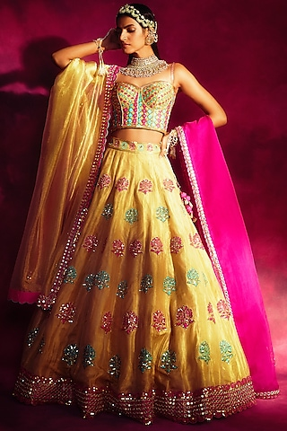 Sea Green & Gold Embroidered Lehenga Set by Vvani By Vani Vats