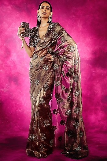 Cooper & Teal Embroidered Saree Set by Vvani By Vani Vats