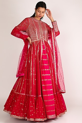Red Embroidered Anarkali Set by Vvani By Vani Vats