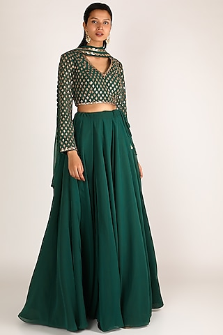 Emerald Green Embroidered Lehenga Set by Vvani By Vani Vats