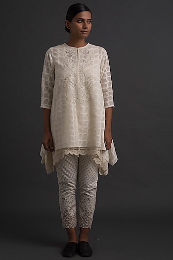 Ivory Embroidered Asymmetric Tunic by Varq By Varun Nidhika