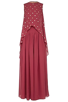 Deep rust embroidered cape with palazzo pants by Vvani by Vani Vats