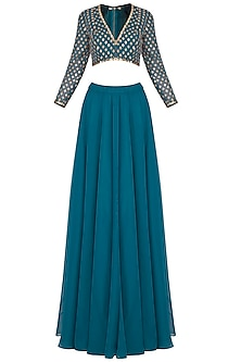 Teal embroidered sharara pants set by Vvani by Vani Vats