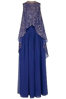 Midnight blue embroidered cape with palazzo pants by Vvani by Vani Vats