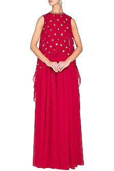 Crimson red embroidered cape with palazzo pants by Vvani by Vani Vats