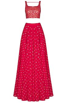 Crimson red embroidered sharara set by Vvani by Vani Vats
