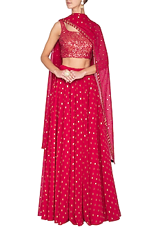 Crimson red embroidered sharara set by Vvani by Vani Vats