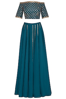 Teal embroidered sharara set by Vvani by Vani Vats