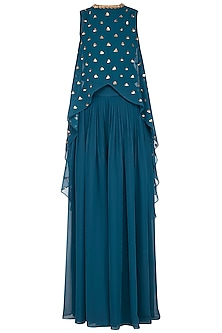 Teal embroidered cape with palazzo pants by Vvani by Vani Vats