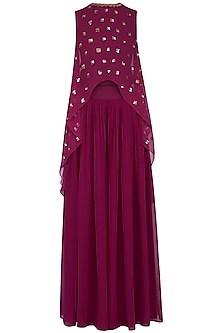 Wine embroidered cape with palazzo pants by Vvani by Vani Vats