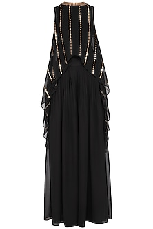 Black embroidered cape with palazzo pants by Vvani by Vani Vats