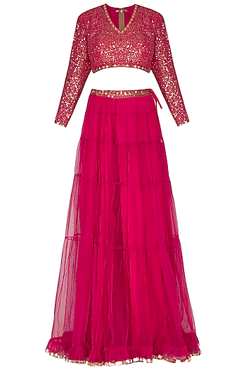Peacock Pink Embroidered Sharara Set by Vvani by Vani Vats