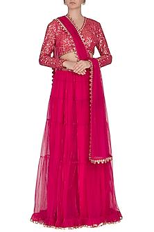 Peacock Pink Embroidered Sharara Set by Vvani by Vani Vats
