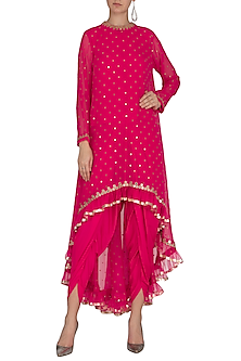 Peacock Pink Embroidered Dhoti Kurta Set With Inner by Vvani by Vani Vats