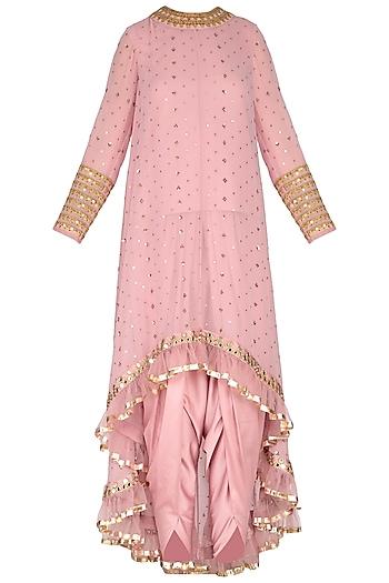 Powder Pink Embroidered Dhoti Kurta Set With Inner by Vvani by Vani Vats