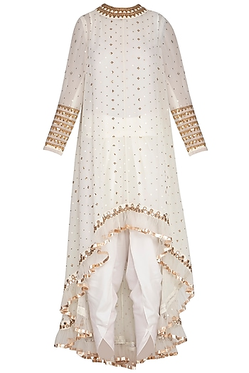 Off White Embroidered Dhoti Kurta Set With Inner by Vvani by Vani Vats