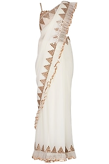 Off White Embroidered Frilled Saree Set by Vvani by Vani Vats