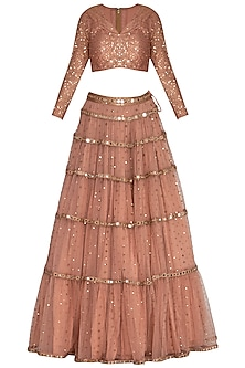 Dusty Rose Embroidered Lehenga Set by Vvani by Vani Vats