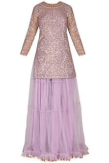 Lilac Embroidered Sharara Set by Vvani by Vani Vats
