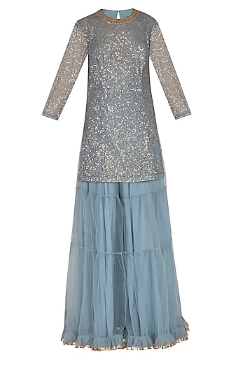 Powder Blue Embroidered Sharara Set by Vvani by Vani Vats