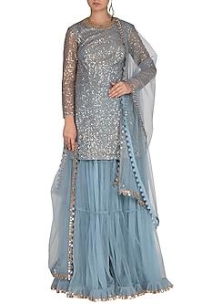 Powder Blue Embroidered Sharara Set by Vvani by Vani Vats