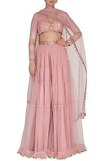 Powder Pink Embroidered Sharara Set by Vvani by Vani Vats