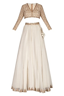 Off White Embroidered Mirror Lehenga Set by Vvani by Vani Vats