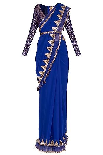 Royal Blue Embroidered Saree Set by Vvani by Vani Vats