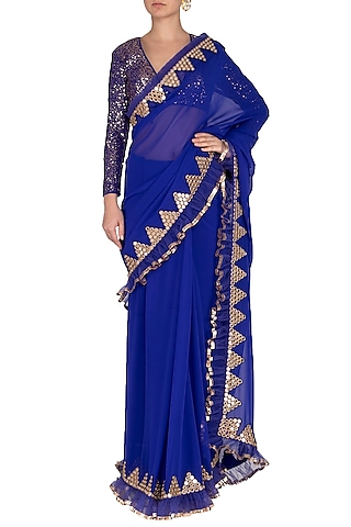 Royal Blue Embroidered Saree Set by Vvani by Vani Vats