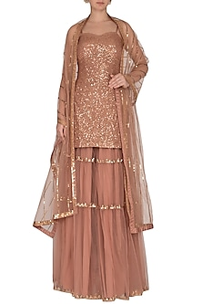 Pinkish Brown Embroidered Sharara Set by Vvani by Vani Vats