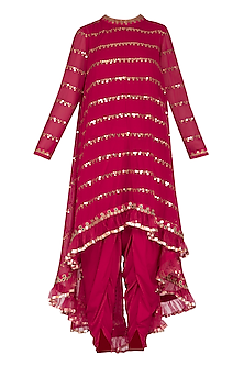Crimson Red Embroidered Dhoti Kurta Set With Inner by Vvani by Vani Vats