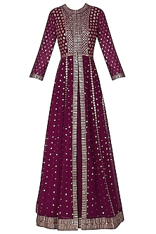 Wine Anarkali with Embroidered Jacket and Dupatta by Vvani by Vani Vats